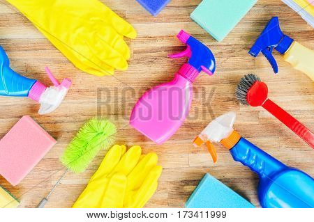 Spring cleaning concept - colorful spays and rubbers pattern