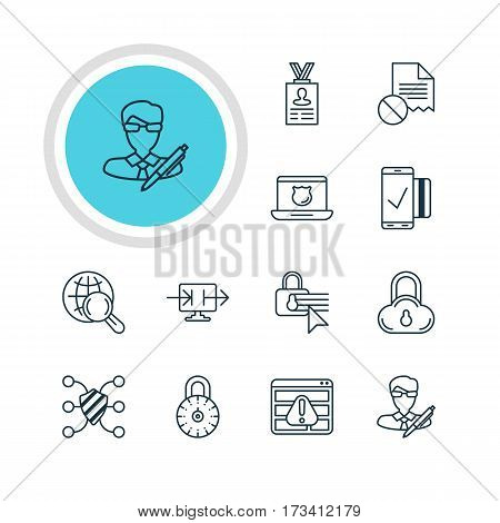 Vector Illustration Of 12 Data Protection Icons. Editable Pack Of Safe Lock, Safeguard, Data Error And Other Elements.