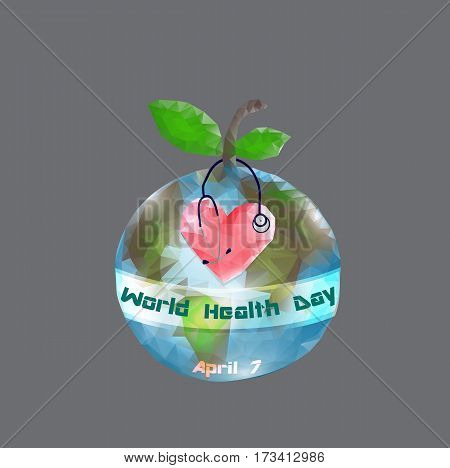 World Health Day. 7 April. Globe. Infographics Vector illustration on gray background