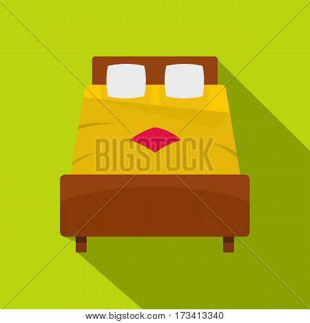 Bed with yellow blanket icon. Flat illustration of bed with yellow blanket vector icon for web isolated on lime background