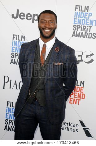 Aldis Hodge at the 2017 Film Independent Spirit Awards held at the Santa Monica Pier in Santa Monica, USA on February 25, 2017.