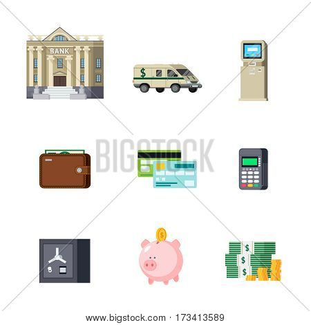Set of banking orthogonal elements including building and transport savings and cash computer technologies isolated vector illustration