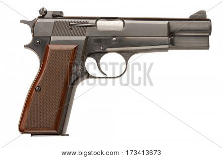 A Belgian-made 9mm semi-automatic military pistol.