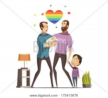Happy loving same-sex gay couple with newborn baby and little son at home retro cartoon vector illustration