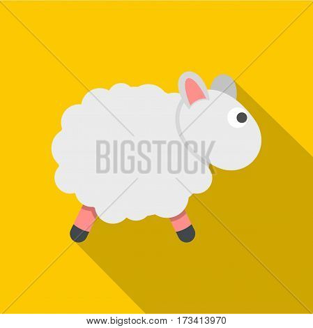White sheep icon. Flat illustration of white sheep vector icon for web isolated on yellow background