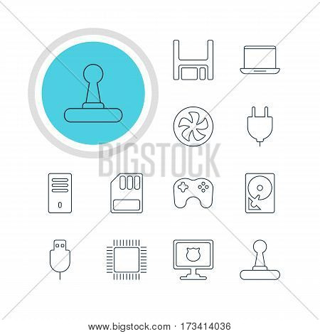 Vector Illustration Of 12 Computer Icons. Editable Pack Of Serial Bus, Hard Drive Disk, Gamepad And Other Elements.