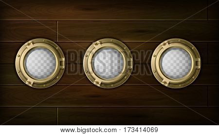 Ship golden  portholes cartoon set with wooden sides vector illustration