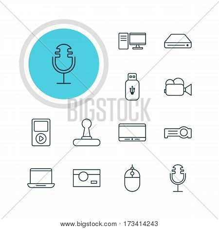 Vector Illustration Of 12 Device Icons. Editable Pack Of Camcorder, Game Controller, Media Controller And Other Elements.
