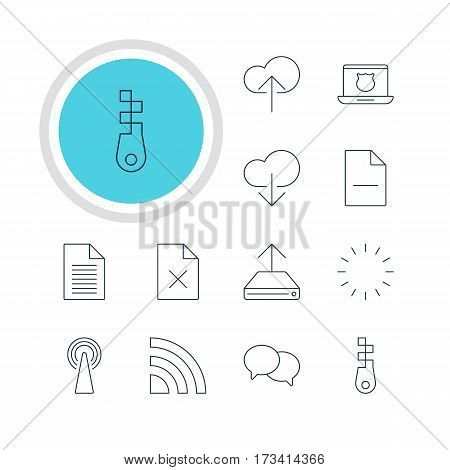 Vector Illustration Of 12 Network Icons. Editable Pack Of Secure Laptop, Router, Delete Data And Other Elements.