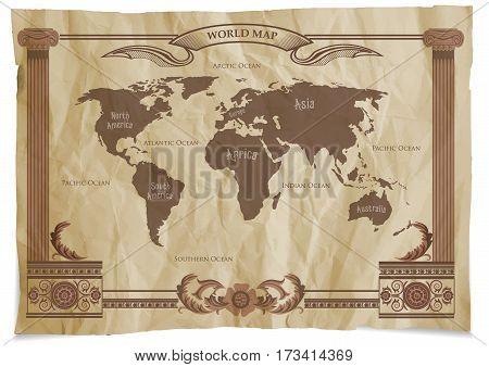 Old Vintage Retro World Map. Vector illustration.