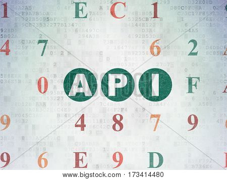 Programming concept: Painted green text Api on Digital Data Paper background with Hexadecimal Code