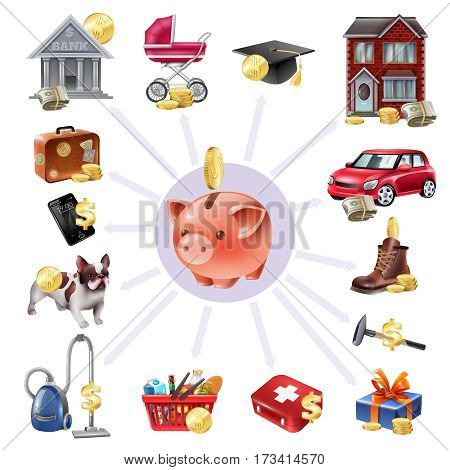 Family budget money box saving concept composition with payments outgoing money expenses symbols radial icons composition vector illustration
