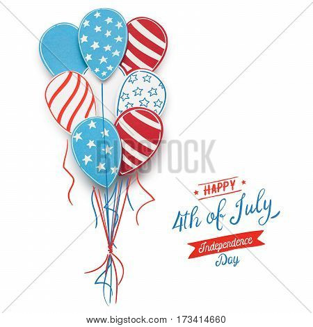Creative 4th of July concept photo of balloons made of paper on white background.