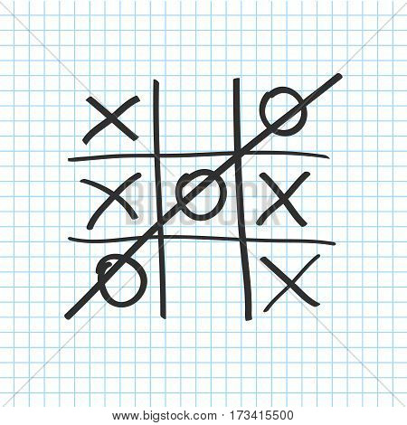 Tic tac toe. Noughts and crosses board game icon isolated on a transparent background . Vector illustration