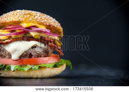 Delicious Fresh Homemade Burger On A Wooden Table