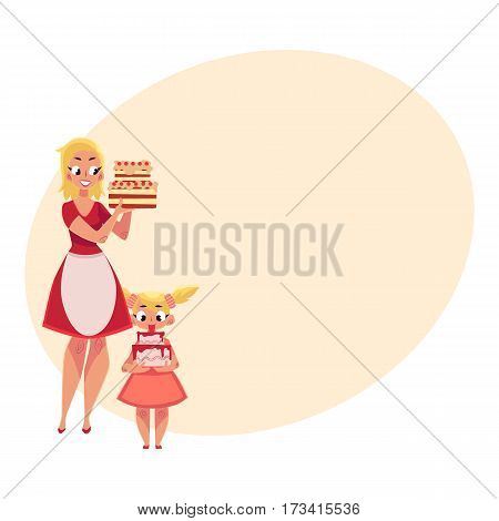 Mother and daughter holding birthday cakes, getting ready for party, cartoon vector illustration with place for text. Mother in apron and teenaged daughter holding birthday cakes