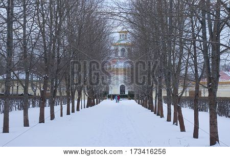 Winter day and the Chinese Village in the Alexander Park in Tsarskoye Selo