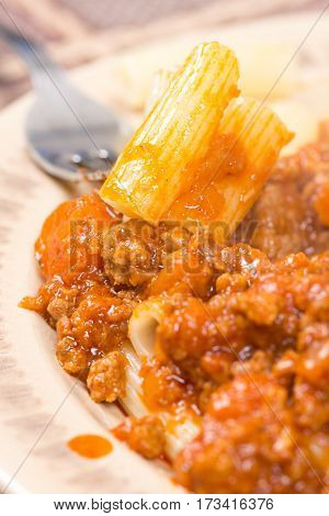 Pork And Beef Minced Meat With Tomato Sauce And Macaroni