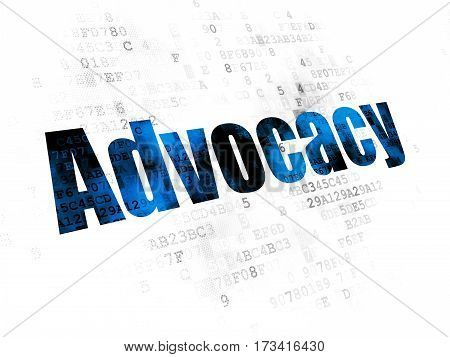Law concept: Pixelated blue text Advocacy on Digital background
