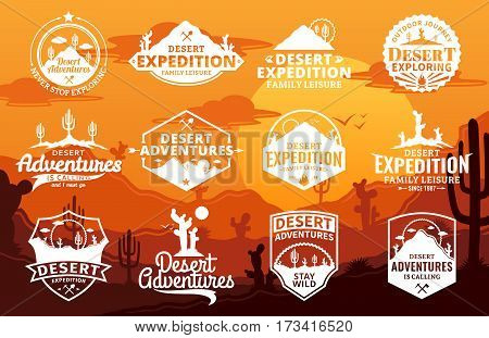 Set of vector desert and outdoor adventures logo on desert landscape background. Desert wild nature icons for tourism organizations outdoor events and camping leisure