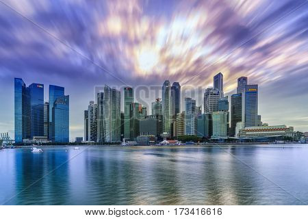 SINGAPORE, FEBRUARY 12 2017 : Singapore skyline and view of the financial district, Singapore on February 12 2017