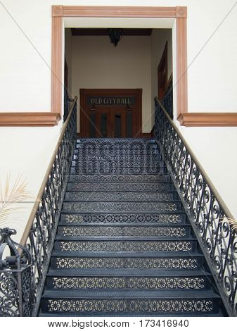 Old Wrought Iron Stairway to City Hall in Key West Florida