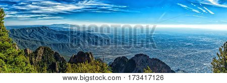 A view of Albuquerque New Mexico (Elev. 5312 ft.) from the 10678 foot elevation of Sandia Crest.