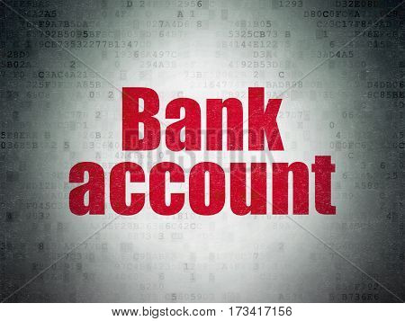 Banking concept: Painted red word Bank Account on Digital Data Paper background