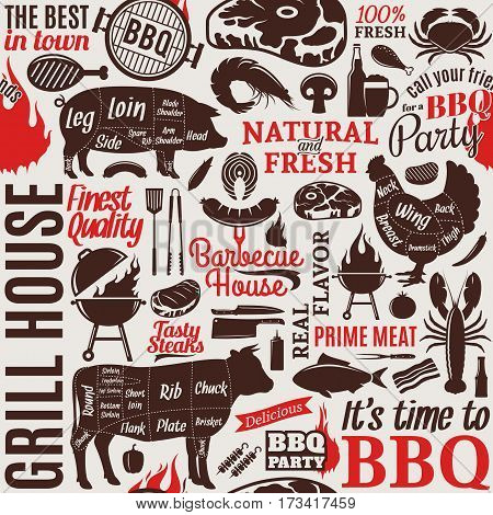 Typographic Vector Barbecue Seamless Pattern Or Background