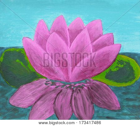 Pink colour waterlily on water, illustration, oil painting.
