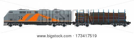 Orange Locomotive with Railway Platform for Timber Transportation, Train Railway and Cargo Transport, Vector Illustration