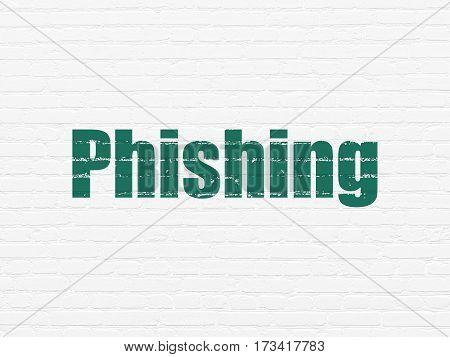 Security concept: Painted green text Phishing on White Brick wall background