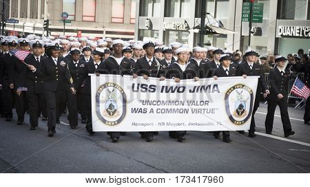 NEW YORK - 11 NOV 2016: US Navy, USN personnel from the USS Iwo Jima march in Americas Parade up 5th Avenue on Veterans Day in Manhattan.