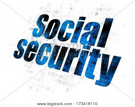 Safety concept: Pixelated blue text Social Security on Digital background