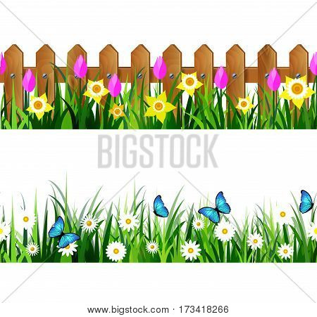 Green Grass set with flowers butterflyes and wooden fence with flowers pink tulips and yellow daffodils borders seamless isolated clip art vector on white.