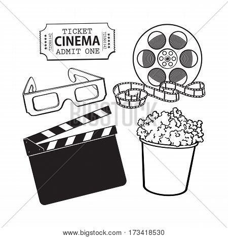 Cinema, movie objects - popcorn bucket, film roll, ticket, clapper board and 3d glasses, cartoon vector black and white illustration isolated on white background. Set of cinema, movies symbols, icons