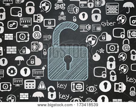 Protection concept: Chalk Blue Opened Padlock icon on School board background with  Hand Drawn Security Icons, School Board