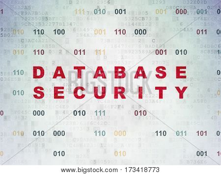 Privacy concept: Painted red text Database Security on Digital Data Paper background with Binary Code