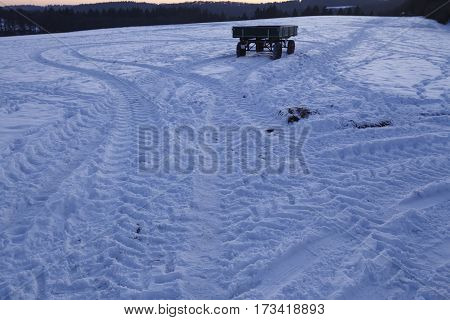 Snowscape With Skid Marks Into The Snow