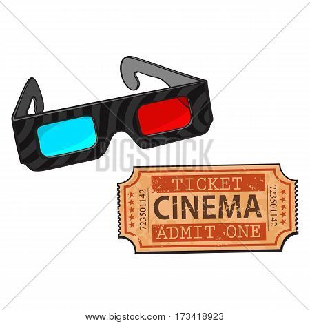 Blue and red stereoscopic, 3d glasses and retro style cinema, movie ticket, sketch vector illustration isolated on white background. Cinema objects - 3d stereoscopic glasses and cinema ticket