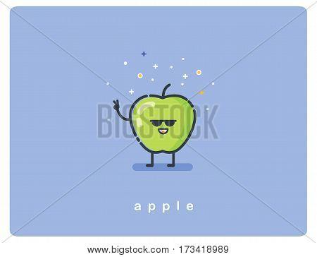 Vector illustration of green apple cartoon character. Fruit flat icon