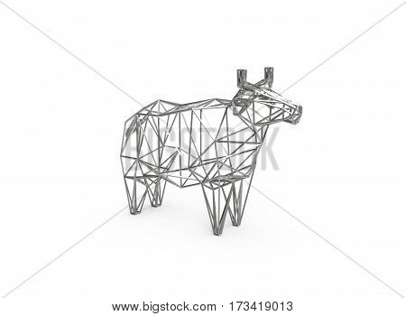 3D polygonal illustration of cow figure, low poly farm animals, cow made of wire frame, art object interior design