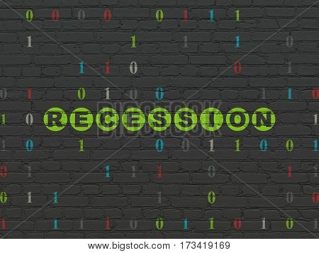 Finance concept: Painted green text Recession on Black Brick wall background with Binary Code