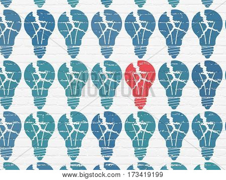 Business concept: rows of Painted blue light bulb icons around red light bulb icon on White Brick wall background