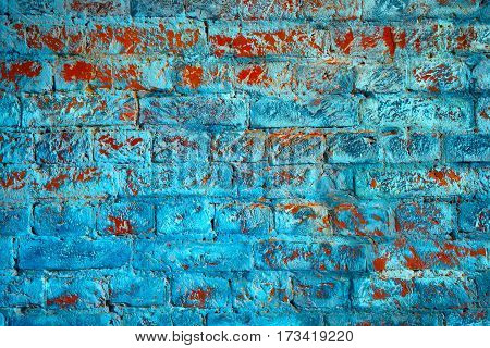 Brick wall of fantastic colors. Brick blue