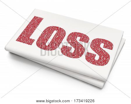Business concept: Pixelated red text Loss on Blank Newspaper background, 3D rendering