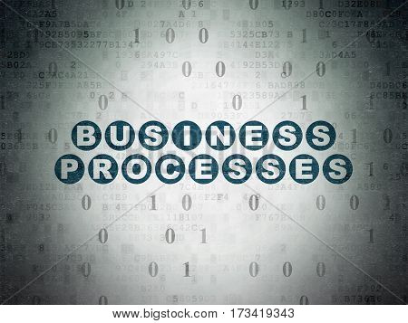 Finance concept: Painted blue text Business Processes on Digital Data Paper background with Binary Code