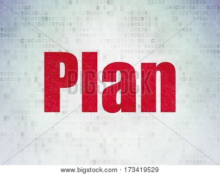 Business concept: Painted red word Plan on Digital Data Paper background