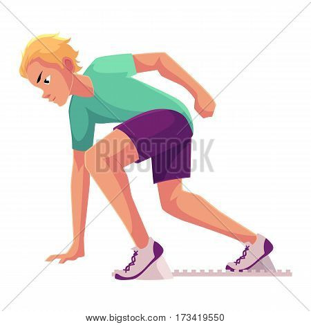 Young and handsome male runner, sprinter, jogger ready to start, cartoon vector illustration isolated on white background. Man running, sprinter, standing on starting blocks
