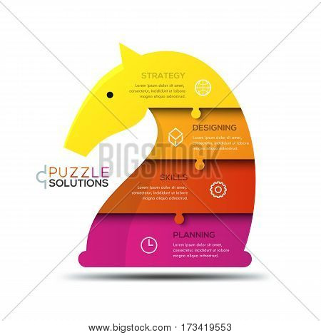 Modern infographic design template, jigsaw puzzle in shape of knight chess piece divided into 4 parts. Successful business strategy planning concept. Vector illustration for website, presentation.